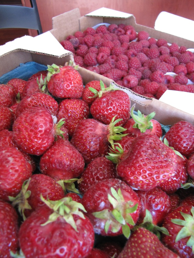 Strawberries and raspberries from a local farm stand.