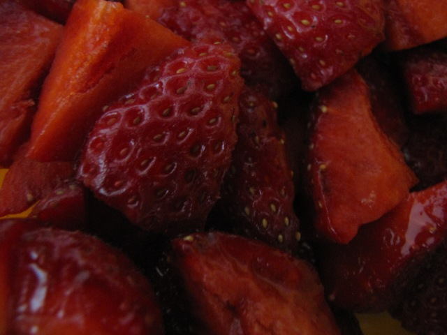 The most beautiful, red local strawberries we have seen this season.