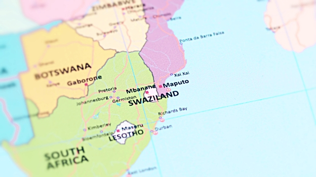 tracking to SWAZILAND - eSWANTINI from World Map